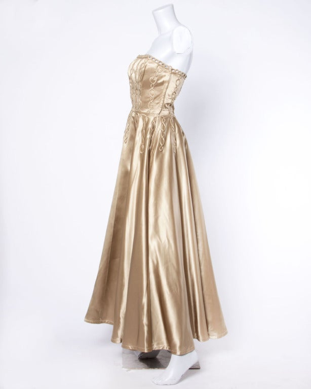 Vintage 1940s 40s Heavy Satin Custom Strapless Gown/ Dress with Cord Detailing 3