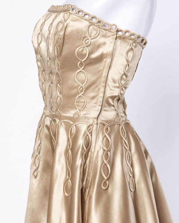 Vintage 1940s 40s Heavy Satin Custom Strapless Gown/ Dress with Cord Detailing 4