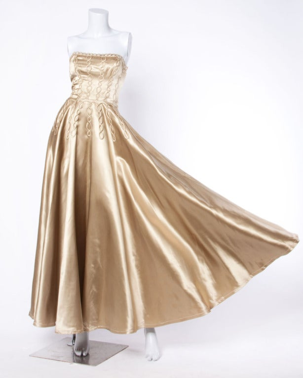 Vintage 1940s 40s Heavy Satin Custom Strapless Gown/ Dress with Cord Detailing 5