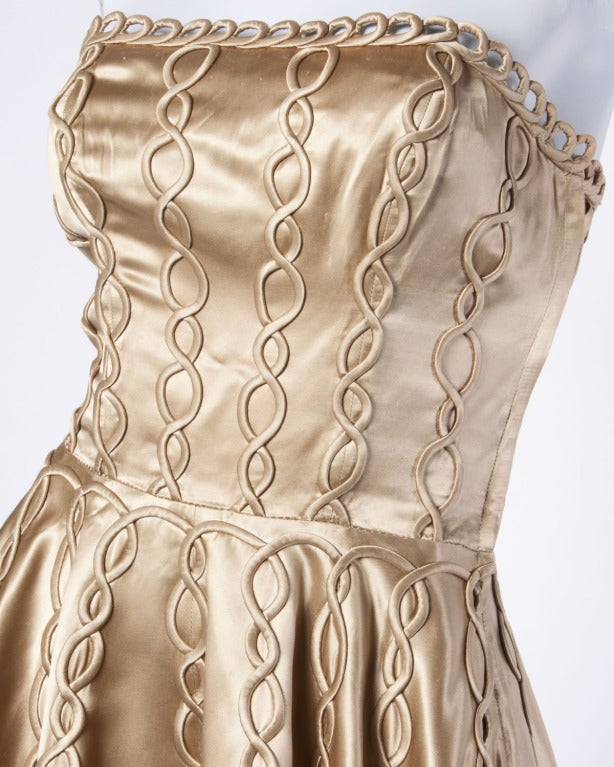 Vintage 1940s 40s Heavy Satin Custom Strapless Gown/ Dress with Cord Detailing 6