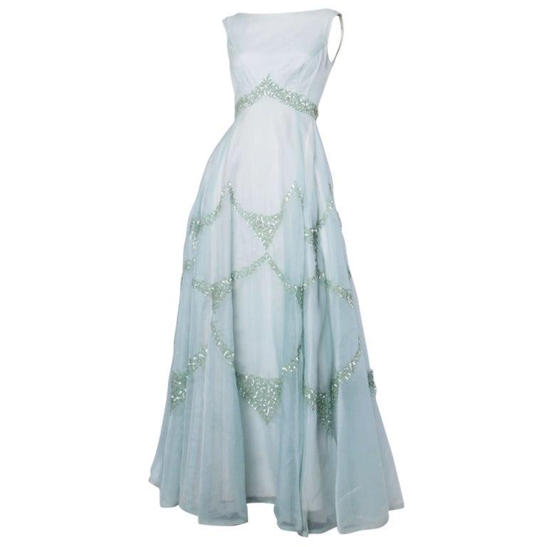 Emma Domb Vintage 1960s 60s Sheer Mint Green-Blue Sequin Maxi Dress/ Gown 1
