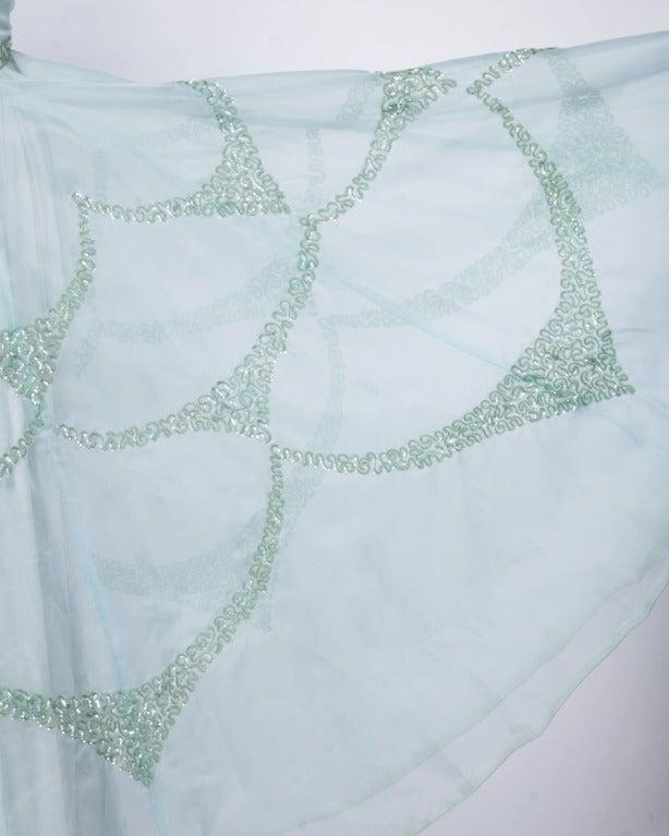 Emma Domb Vintage 1960s 60s Sheer Mint Green-Blue Sequin Maxi Dress/ Gown 3