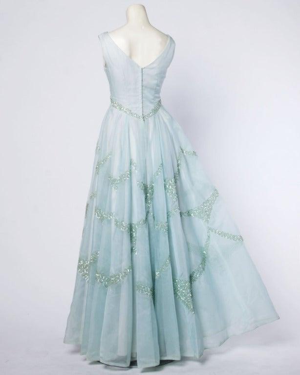 Emma Domb Vintage 1960s 60s Sheer Mint Green-Blue Sequin Maxi Dress/ Gown 4