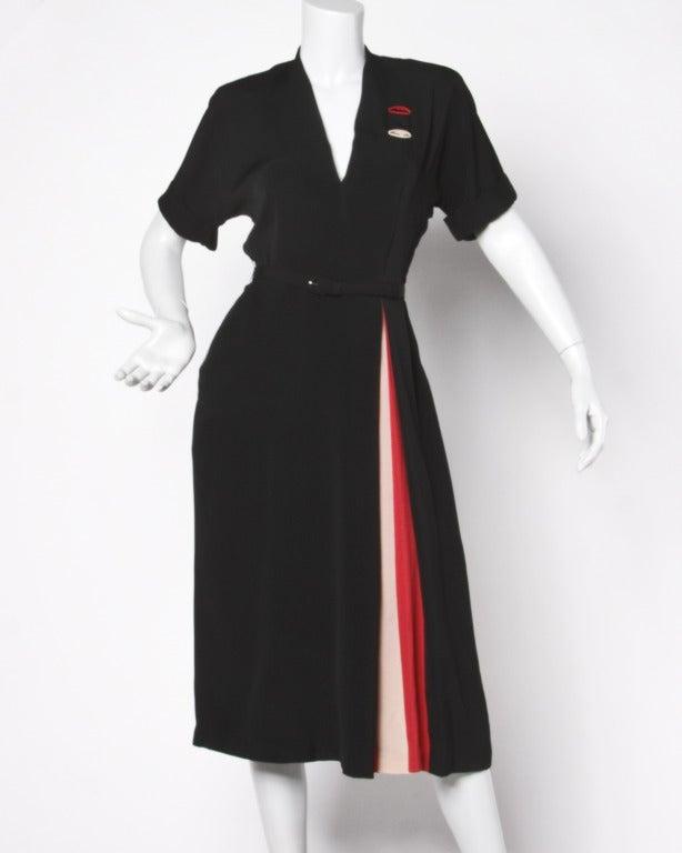 Vintage 1940s Color Block Swag Dress: Vintage 1940s 40s Asymmetric Black Red Pink Color Block
