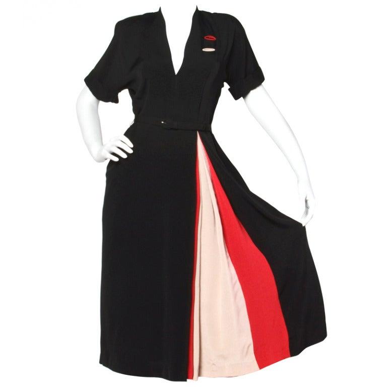 Vintage 1940s 40s Asymmetric Black Red Pink Color Block Dress + Belt