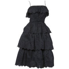 Vintage 1960s 60s Tiered Cut Out Eyelet Taffeta Black Lace Party Dress