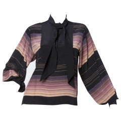 Oleg Cassini for I. Magnin Vintage 1970s 70s Silk Striped Ascot Tie Button Up Blouse Top
