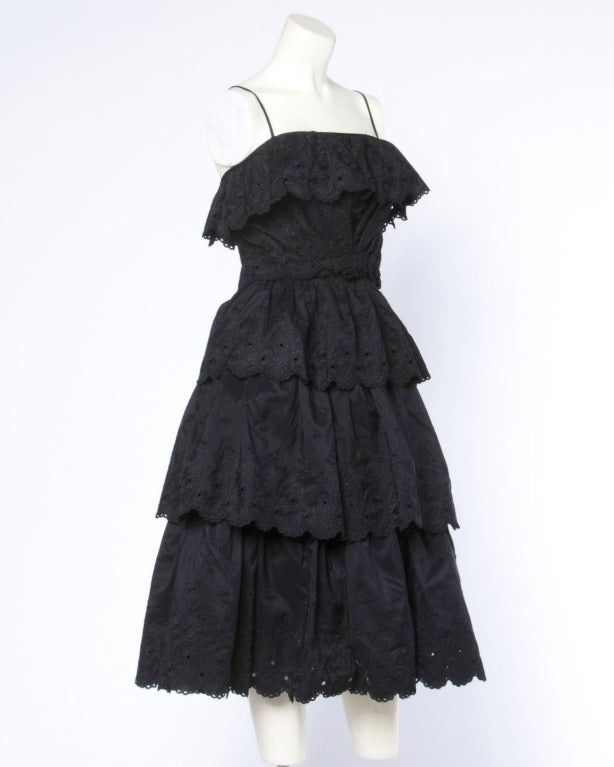 Vintage 1960s 60s Tiered Cut Out Eyelet Taffeta Black Lace Party Dress 2