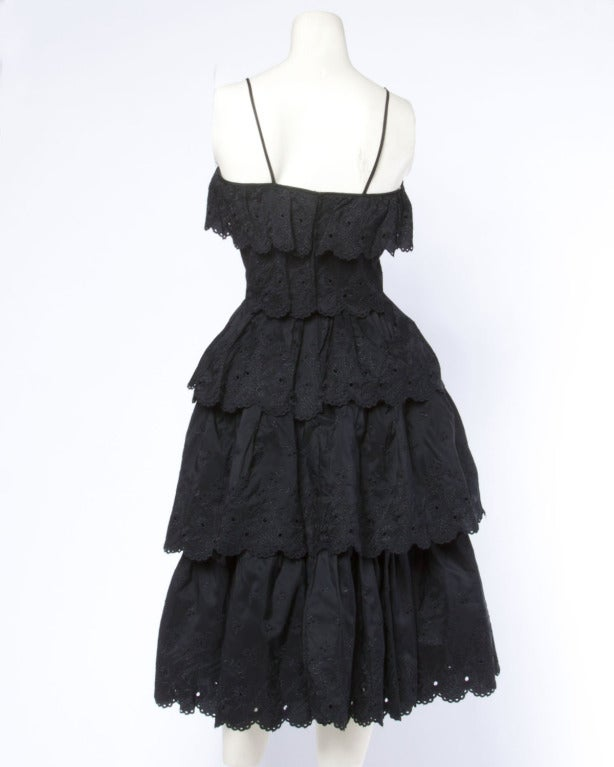 Vintage 1960s 60s Tiered Cut Out Eyelet Taffeta Black Lace Party Dress 3