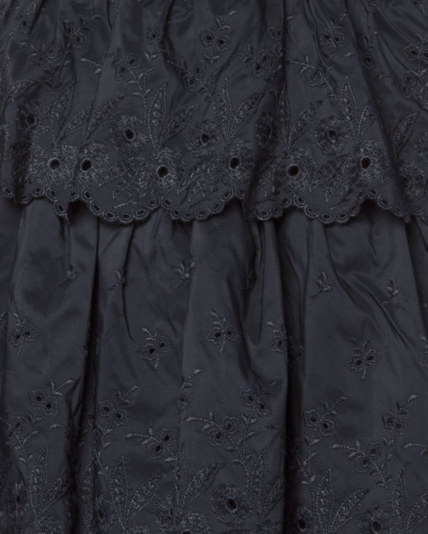 Vintage 1960s 60s Tiered Cut Out Eyelet Taffeta Black Lace Party Dress 4