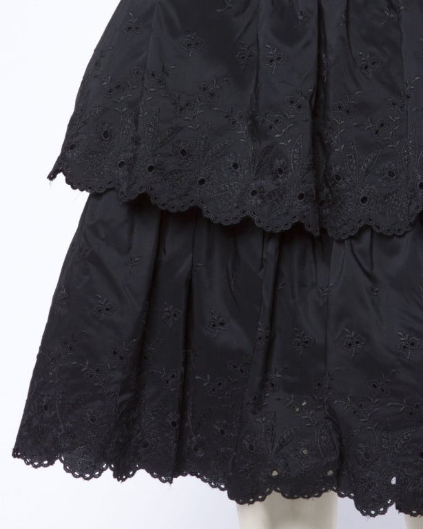 Vintage 1960s 60s Tiered Cut Out Eyelet Taffeta Black Lace Party Dress 6