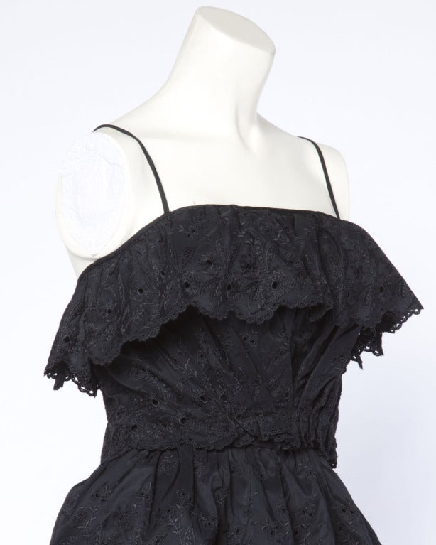 Vintage 1960s 60s Tiered Cut Out Eyelet Taffeta Black Lace Party Dress 7