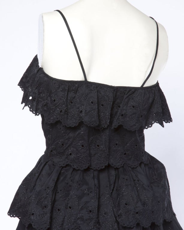 Vintage 1960s 60s Tiered Cut Out Eyelet Taffeta Black Lace Party Dress 8