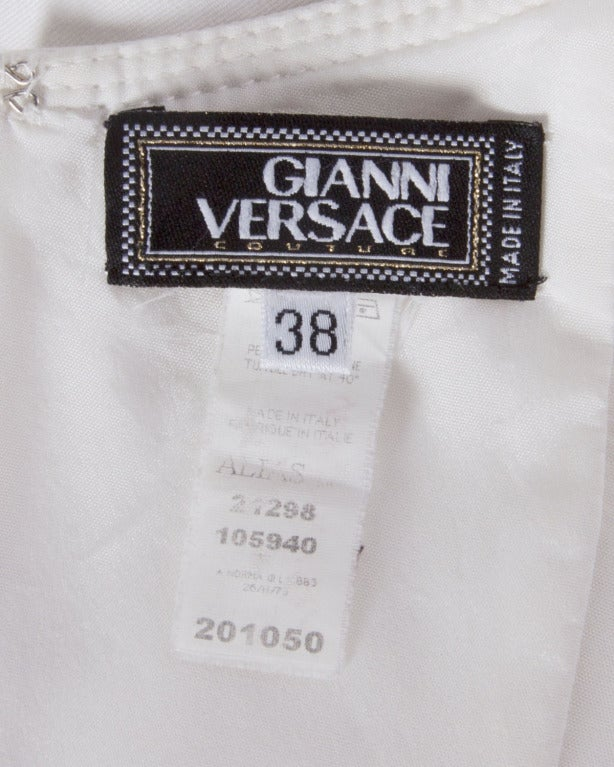 Gianni Versace Couture 1990s 90s Vintage White Bustier Body Con Mini Dress 2