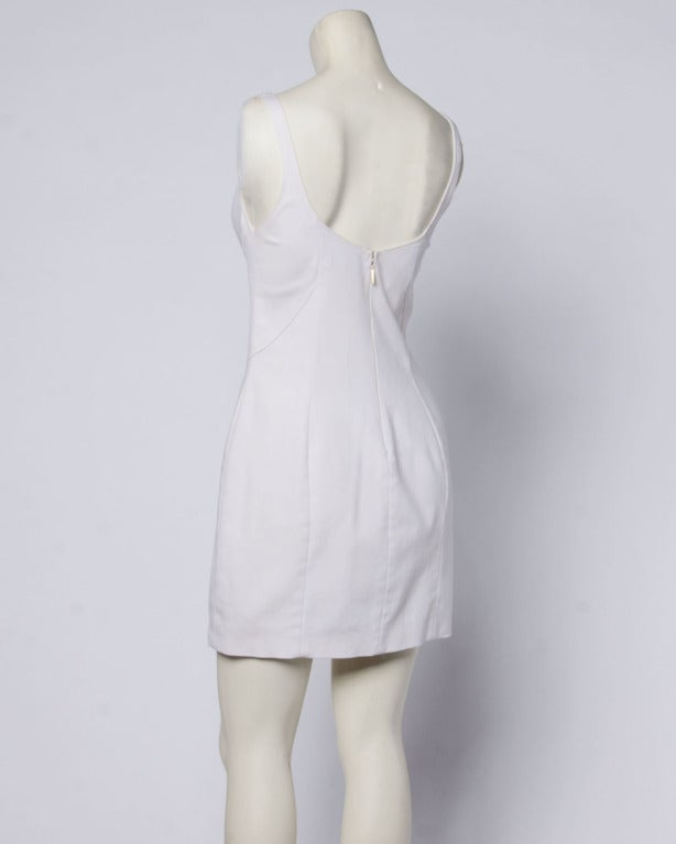 Gianni Versace Couture 1990s 90s Vintage White Bustier Body Con Mini Dress 6