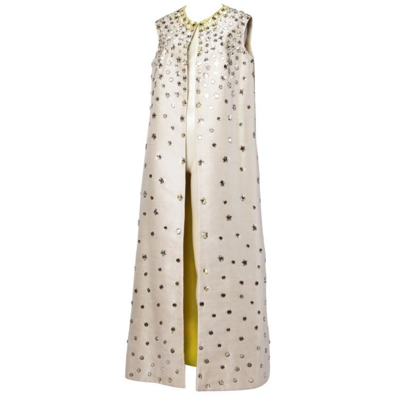 Vintage 1960s 60s Silk Shantung Mirror + Crystal Embellished Beaded Maxi Dress Coat 1