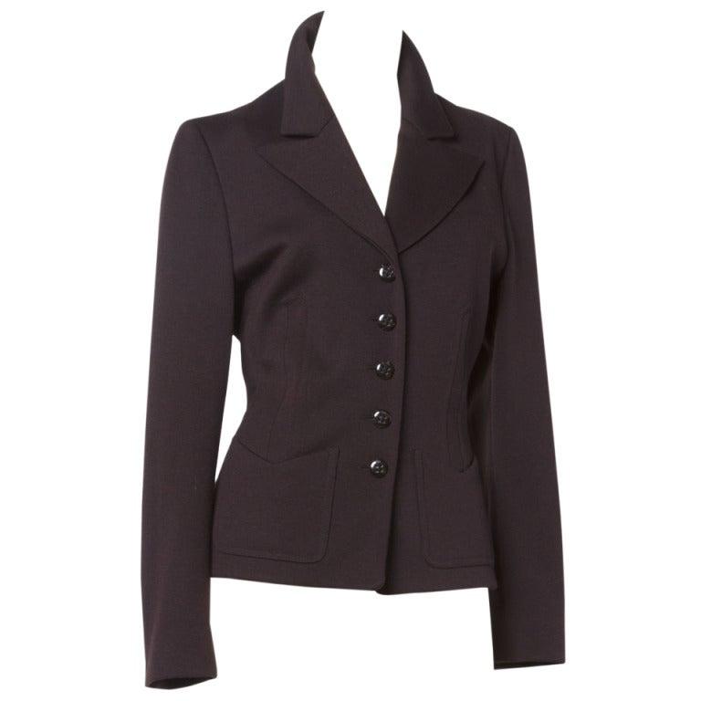Sonia Rykiel 1990s 90s Vintage Brown Wool Button Up Blazer Suit Jacket