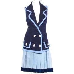 Zang Toi Vintage 1990s 90s Blue Knit Sweater Vest Top + Pleated Skirt Suit Set