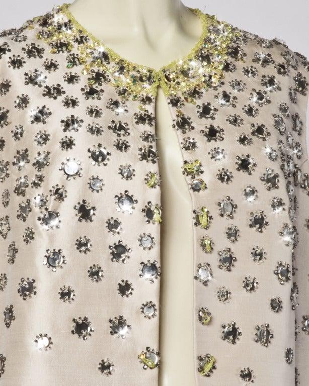 Vintage 1960s 60s Silk Shantung Mirror + Crystal Embellished Beaded Maxi Dress Coat 2