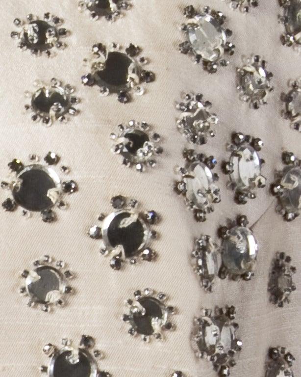 Vintage 1960s 60s Silk Shantung Mirror + Crystal Embellished Beaded Maxi Dress Coat 3