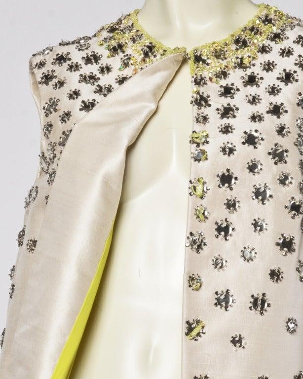 Vintage 1960s 60s Silk Shantung Mirror + Crystal Embellished Beaded Maxi Dress Coat 4