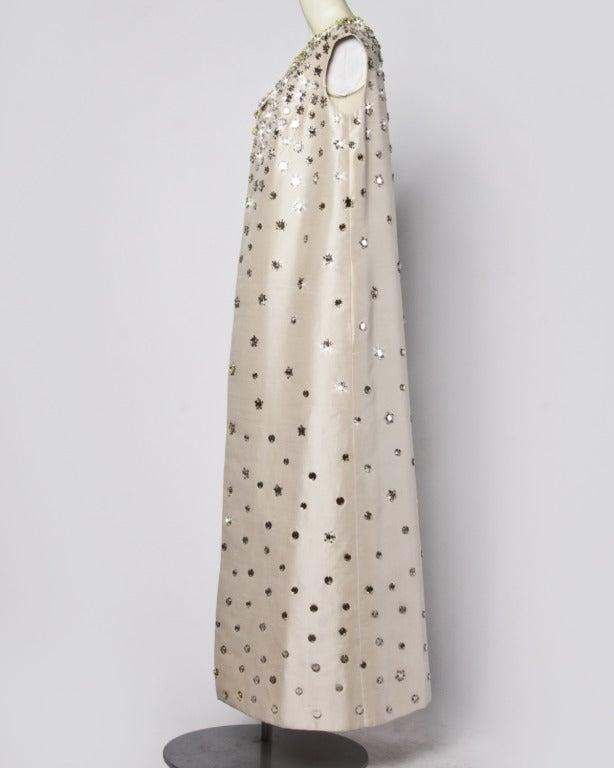 Vintage 1960s 60s Silk Shantung Mirror + Crystal Embellished Beaded Maxi Dress Coat 5