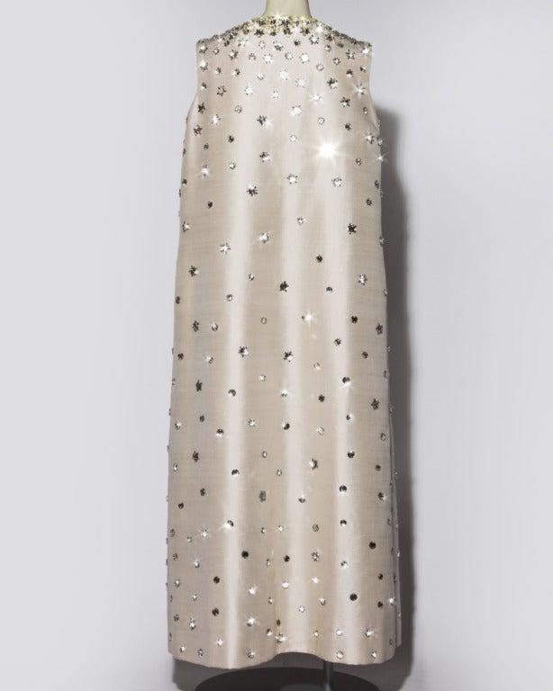 Vintage 1960s 60s Silk Shantung Mirror + Crystal Embellished Beaded Maxi Dress Coat 6