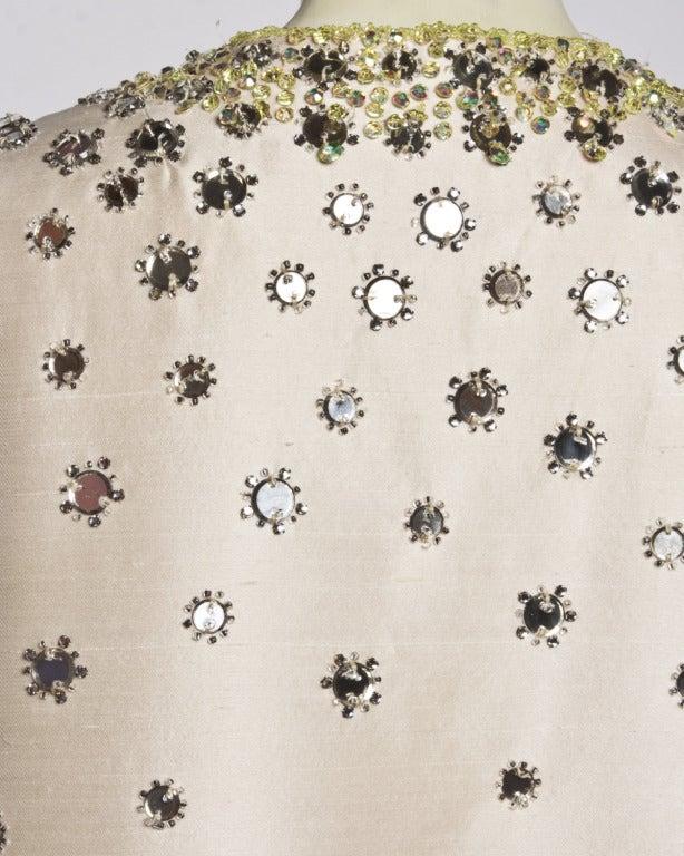 Vintage 1960s 60s Silk Shantung Mirror + Crystal Embellished Beaded Maxi Dress Coat 7