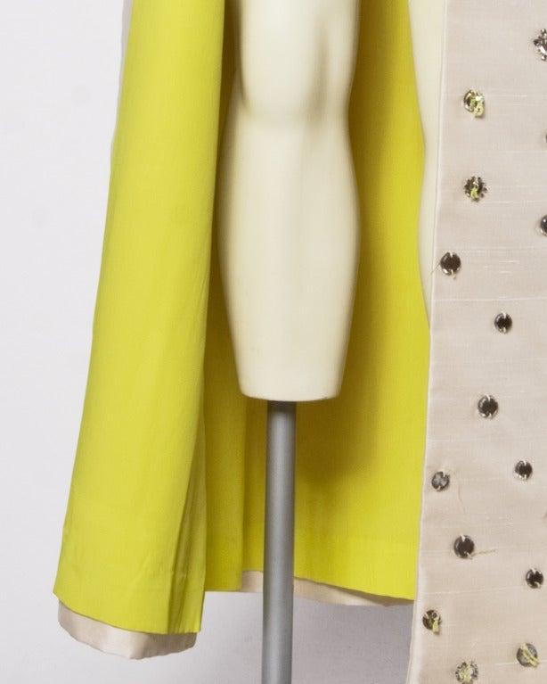 Vintage 1960s 60s Silk Shantung Mirror + Crystal Embellished Beaded Maxi Dress Coat 8