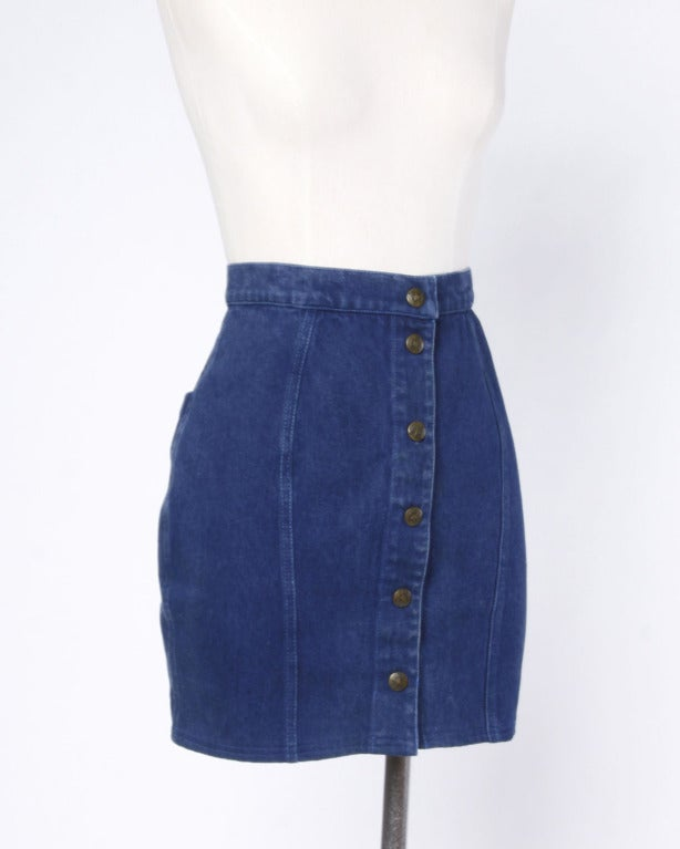 Thierry Mugler 1980s 80s Vintage Blue Denim High Waisted Jean Skirt In Excellent Condition In Sparks, NV