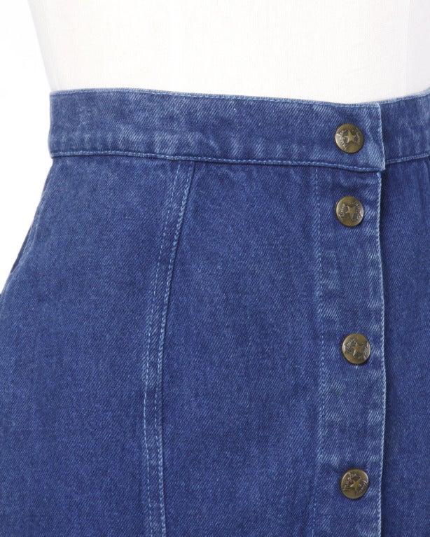 thierry mugler 1980s 80s vintage blue denim high waisted