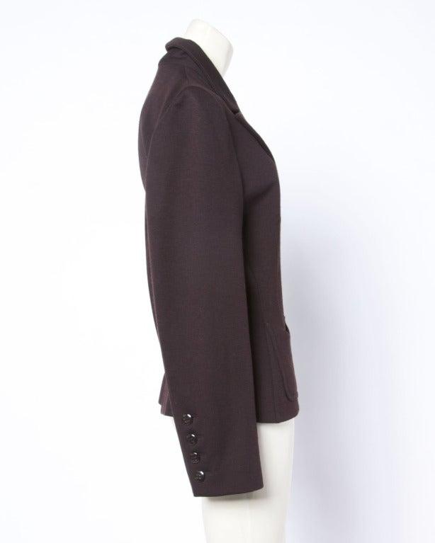 Black Sonia Rykiel 1990s 90s Vintage Brown Wool Button Up Blazer Suit Jacket For Sale