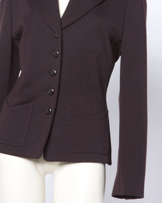 Women's Sonia Rykiel 1990s 90s Vintage Brown Wool Button Up Blazer Suit Jacket For Sale