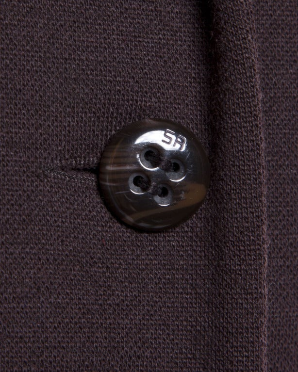 Sonia Rykiel 1990s 90s Vintage Brown Wool Button Up Blazer Suit Jacket For Sale 1