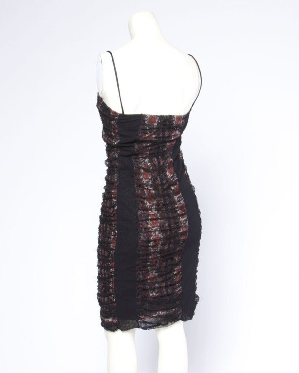 Jean Paul Gaultier Vintage Mesh Floral Paisley Print Body Con Dress 4