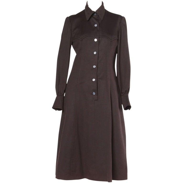 Luxurious Hermes Vintage 1970s 70s Brown Cashmere + Silk Coat Dress