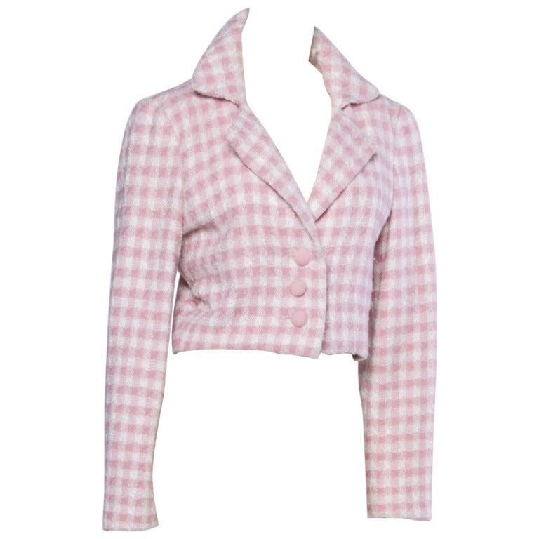 Carolina Herrera Vintage 1990s 90s Pink Houndstooth Wool Cropped Blazer Jacket 1