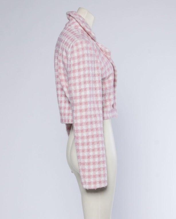 Carolina Herrera Vintage 1990s 90s Pink Houndstooth Wool Cropped Blazer Jacket 3