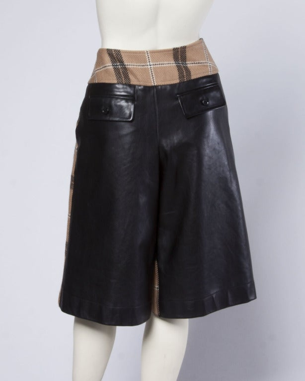 Dolce + Gabbana Black Buttery Leather + Wool Plaid Culottes Shorts/ Pants 3