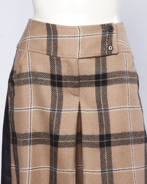 Dolce + Gabbana Black Buttery Leather + Wool Plaid Culottes Shorts/ Pants 4