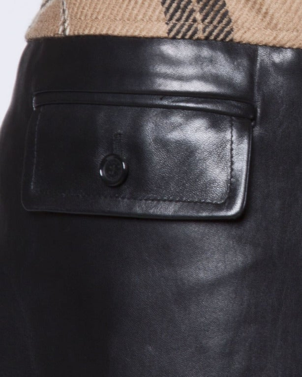 Dolce + Gabbana Black Buttery Leather + Wool Plaid Culottes Shorts/ Pants 5
