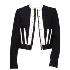 Chloe Black + White Deconstructed Cropped Wool Jacket