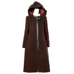 Luxurious Hermes Vintage 1970s 70s Brown Wool Silk + Leather Hooded Coat
