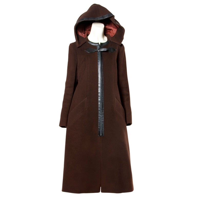 Luxurious Hermes Vintage 1970s 70s Brown Wool Silk + Leather Hooded Coat