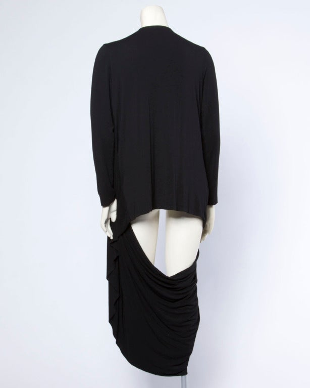 Norma Kamali Omo Black Avant Garde Cut Out Draped Cocoon