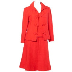 Christian Dior Vintage 1960s 60s Red-Orange Skirt + Jacket + Top 3-Piece Suit Set