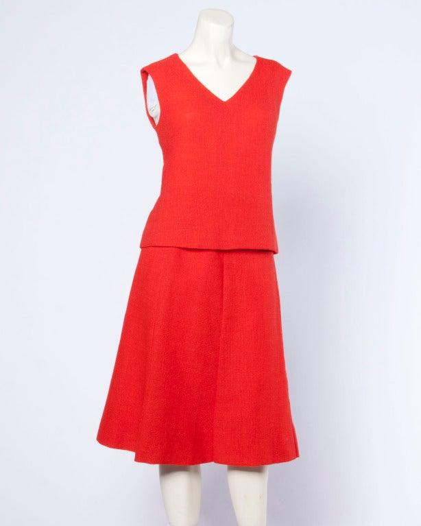 Christian Dior Vintage 1960s 60s Red-Orange Skirt + Jacket + Top 3-Piece Suit Set In Excellent Condition For Sale In Sparks, NV