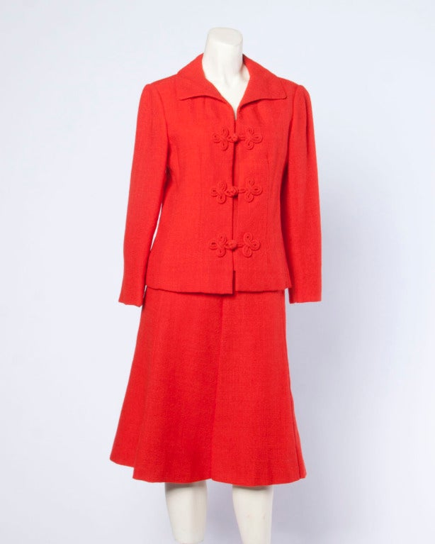 Women's Christian Dior Vintage 1960s 60s Red-Orange Skirt + Jacket + Top 3-Piece Suit Set For Sale
