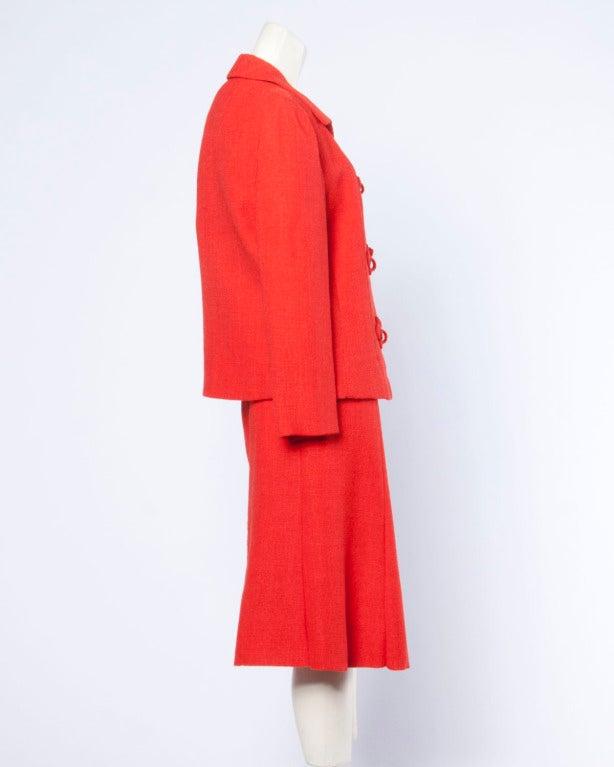 Christian Dior Vintage 1960s 60s Red-Orange Skirt + Jacket + Top 3-Piece Suit Set For Sale 1