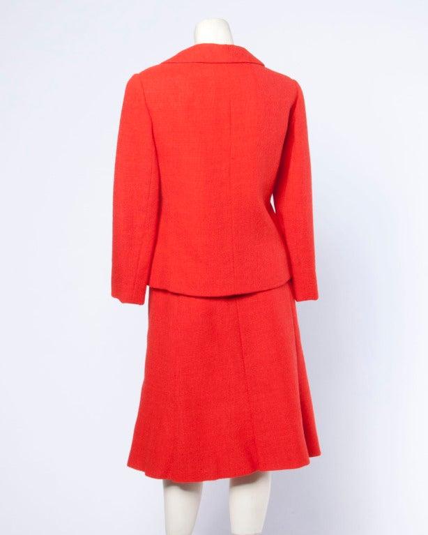 Christian Dior Vintage 1960s 60s Red-Orange Skirt + Jacket + Top 3-Piece Suit Set For Sale 2